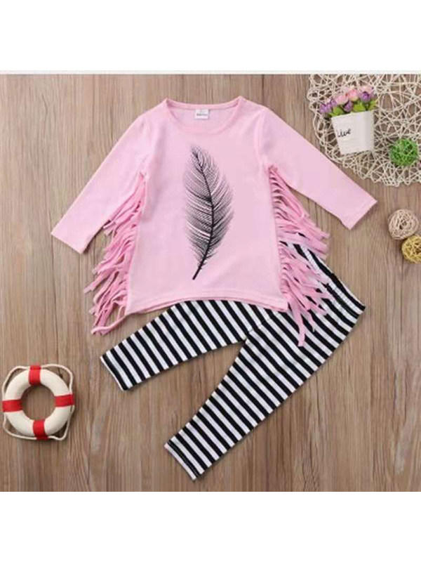 【2Y-9Y】Girls' Feather Print Tassel T-shirt Trousers Suit