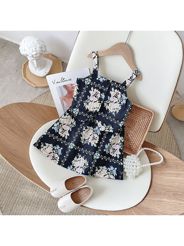 【18M-7Y】Girls Square Neck Floral Vest Suspenders With Skirt Suit