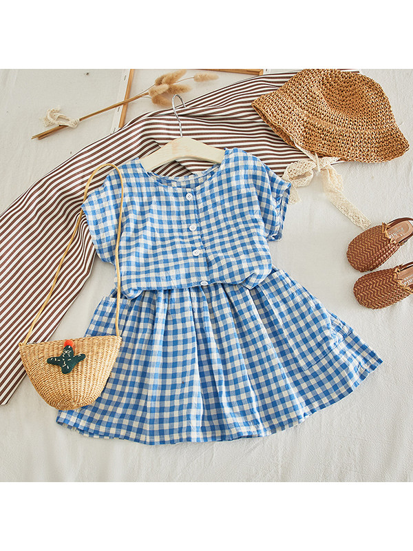 【2Y-9Y】Girls Round Neck Short-sleeved Plaid Top with Short Skirt Suit