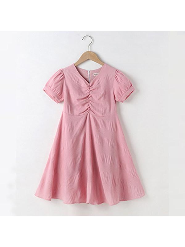 【4Y-13Y】Girl Short Sleeve Chiffon Dress