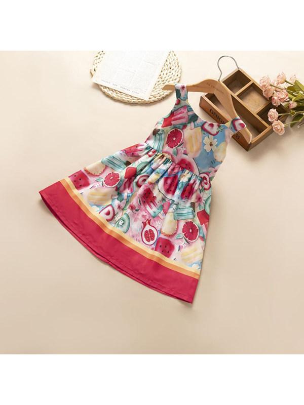 【18M-7Y】Girls' Round Neck Sleeveless Fruit Dress