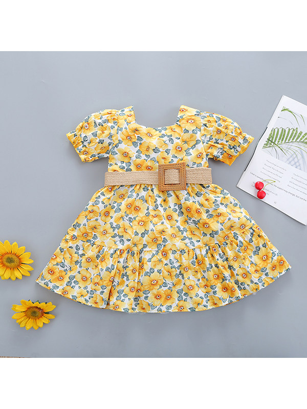 【18M-7Y】Girls Square Neck Short Sleeve Floral Belt Dress