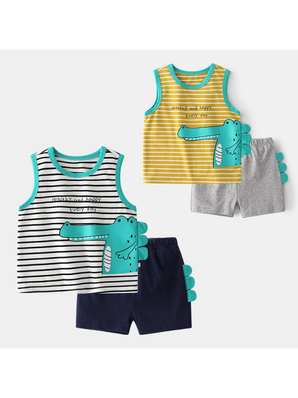 【18M-7Y】Boys Cartoon Striped Sleeveless Tank Top And Shorts Two-piece Suit