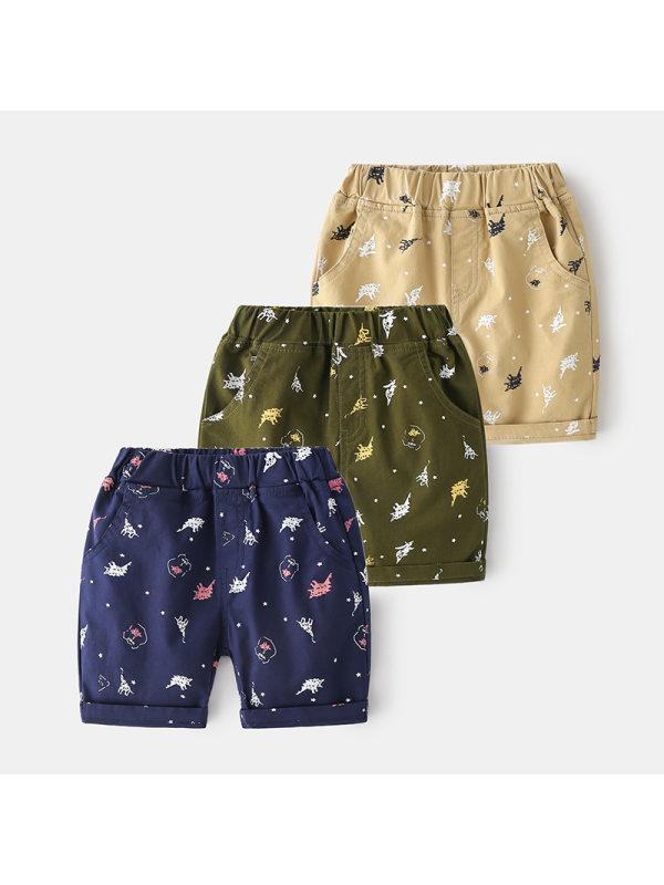 【12M-9Y】Boys Cartoon Print Trendy Five-point Pants