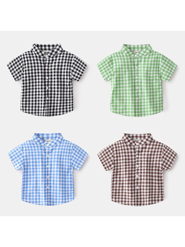 【18M-7Y】Boys' Short-sleeved Stand-collar Fashion Small Plaid Shirt