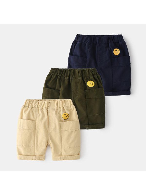 【2Y-9Y】Boys' Big Pockets Decorated Trendy Five-quarter Pants