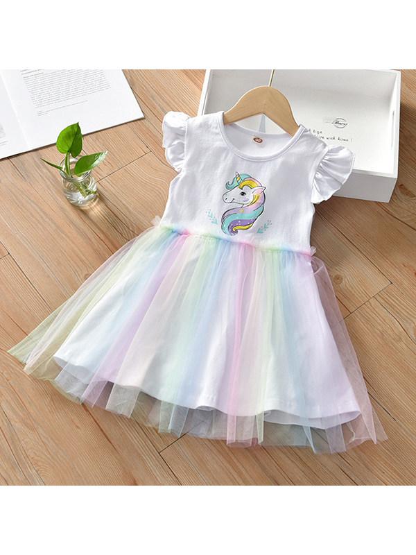 【18M-7Y】Girls Unicorn Printed Mesh Dress