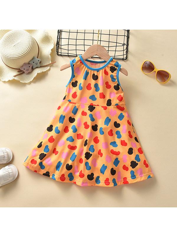 【18M-7Y】Girls Sleeveless Polka Dot Print Dress