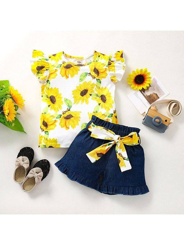 【18M-7Y】Girls Round Neck Flying Sleeve Printed Top with Denim Shorts Set