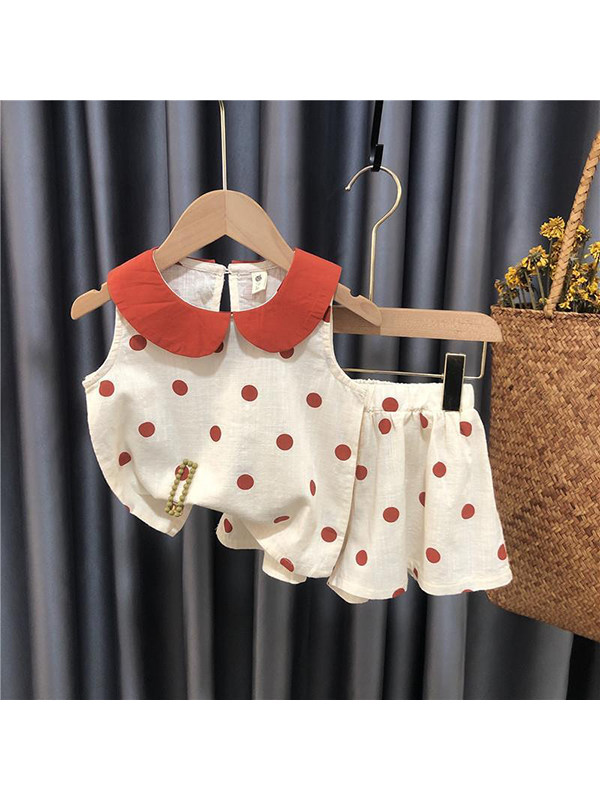 【12M-5Y】Girls Doll Collar Sleeveless Top With Skirt Suit