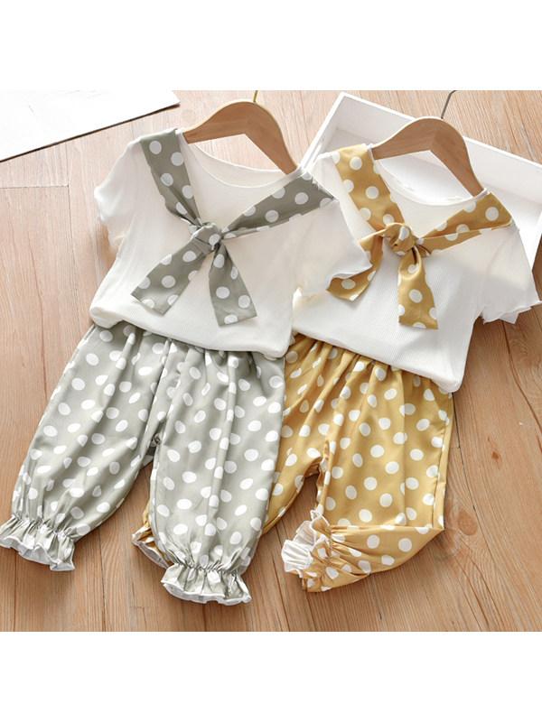 【18M-7Y】Girls Casual Short Sleeve T-shirt Polka Dot Pants Suit