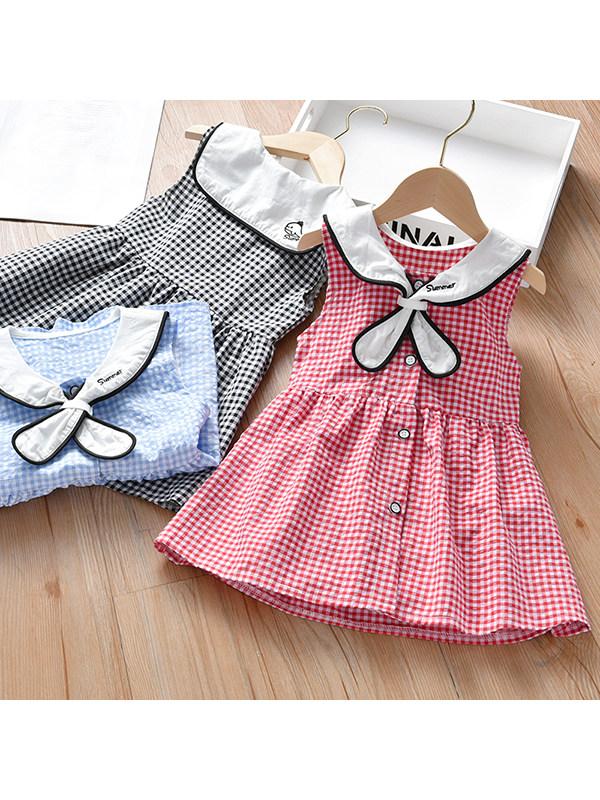【18M-7Y】Girls Sleeveless Plaid Pattern dress