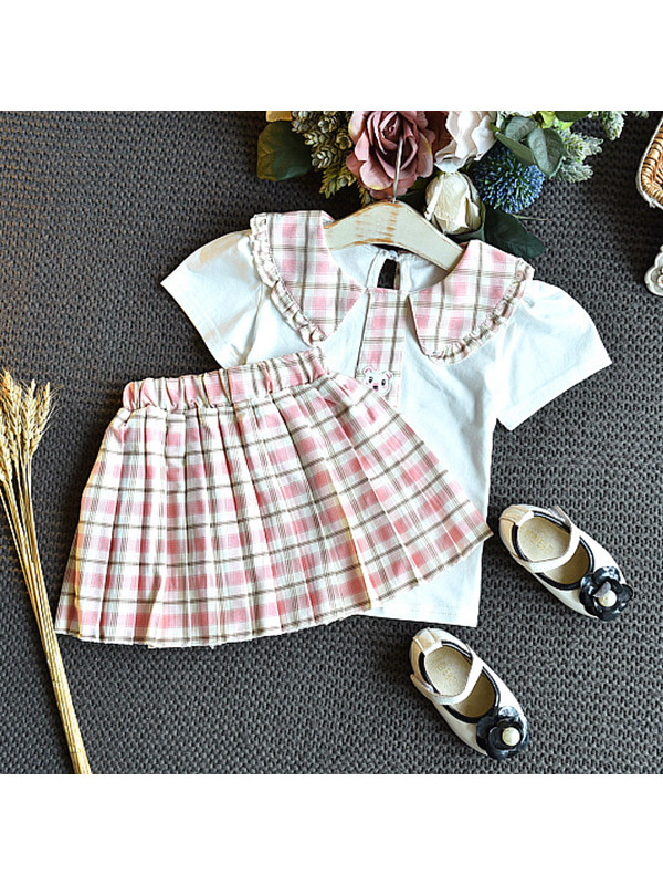 【18M-7Y】Girls Big Lapel Short Sleeve Top with Pleated Plaid Skirt Set