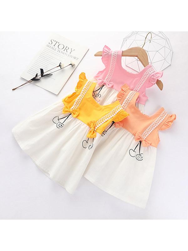 【18M-7Y】Girls Round Neck Stitching Dress