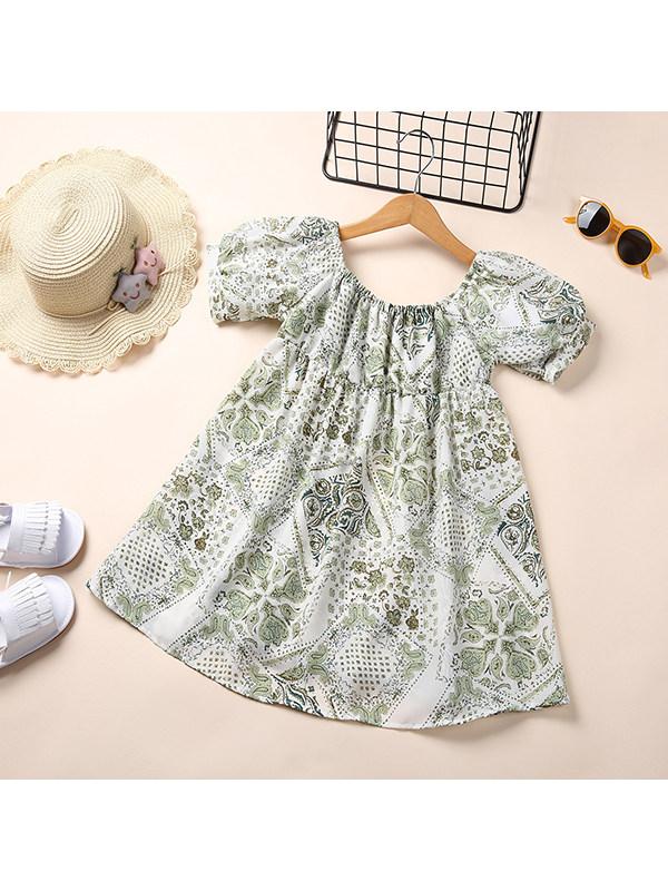 【18M-7Y】Girls Floral Print Bubble Sleeve Dress