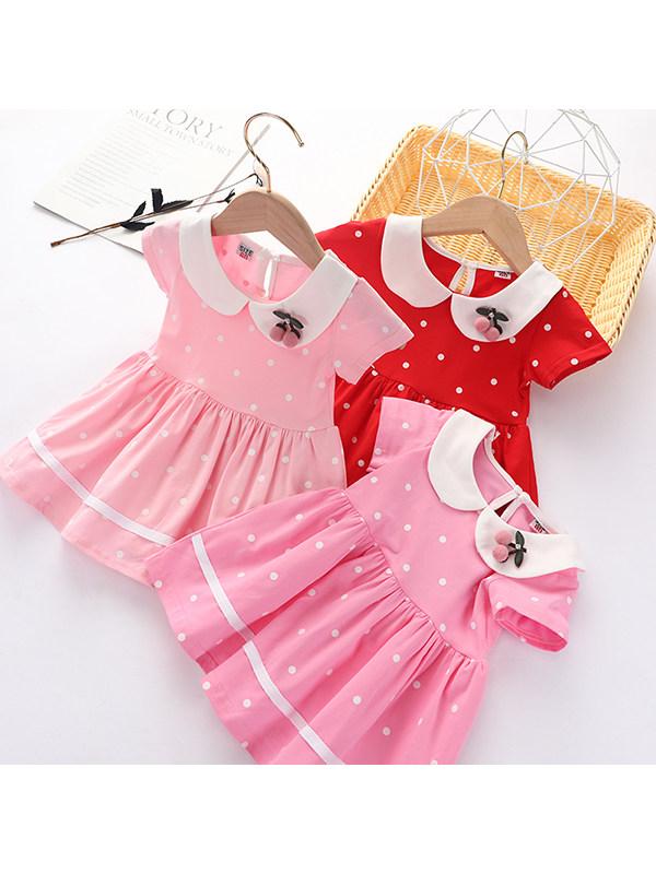 【12M-5Y】Girls Cotton Polka Dot Short Sleeve Dress