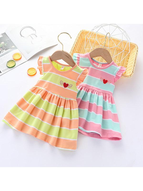 【12M-7Y】Girls Striped Round Neck Sleeveless Cotton Dress