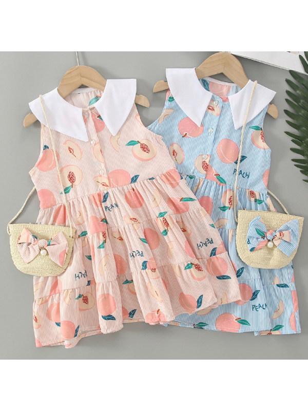 【3Y-9Y】Girl Sweet Lapel Sleeveless Dress