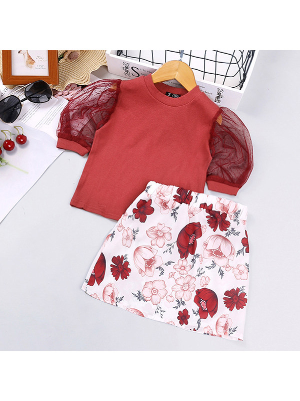 【18M-7Y】Girls' Mesh Short-sleeved Blouse And Flower Short Skirt Two-piece Suit