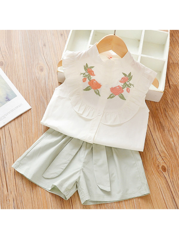 【12M-5Y】Girls Sweet Embroidered Shirt Shorts Set
