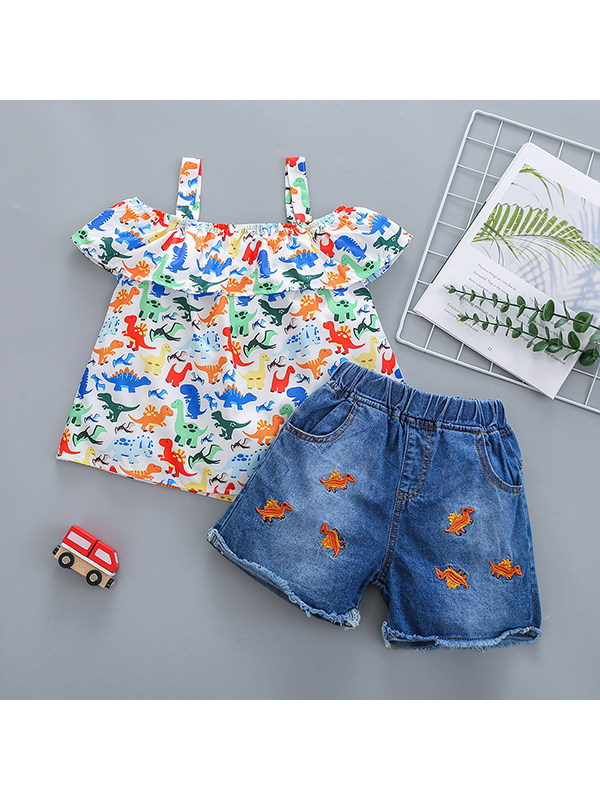 【18M-7Y】Girls' Camisole Embroidered Jeans Suit