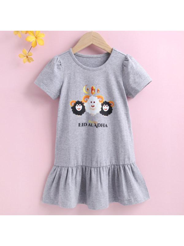 【18M-7Y】Cute Cartoon Print Round Neck Gray Dress