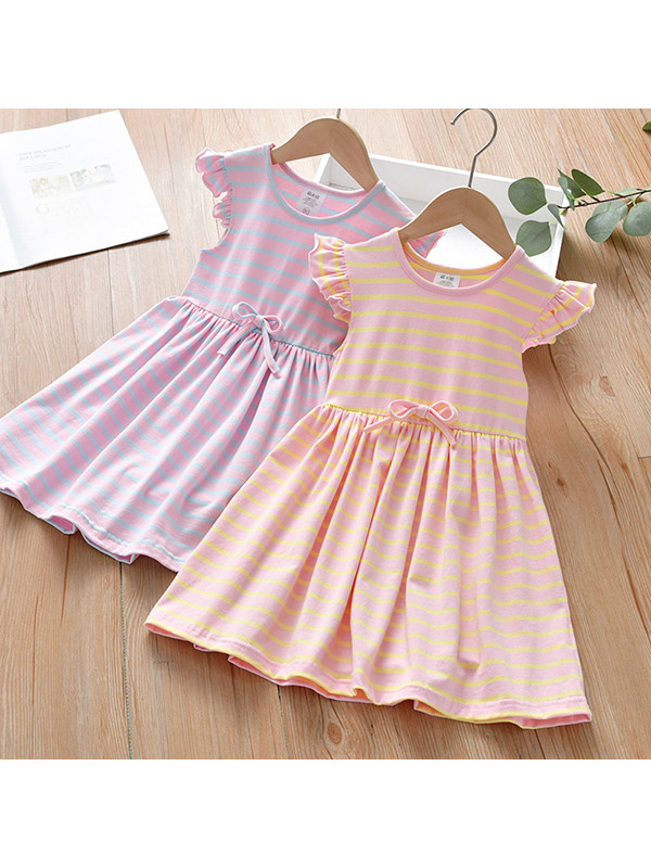 【12M-7Y】Girls Round Neck Flying Sleeve Striped Dress
