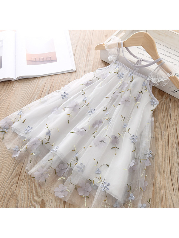 【18M-7Y】Girls Embroidered Lace Three-dimensional Flower Mesh Dress