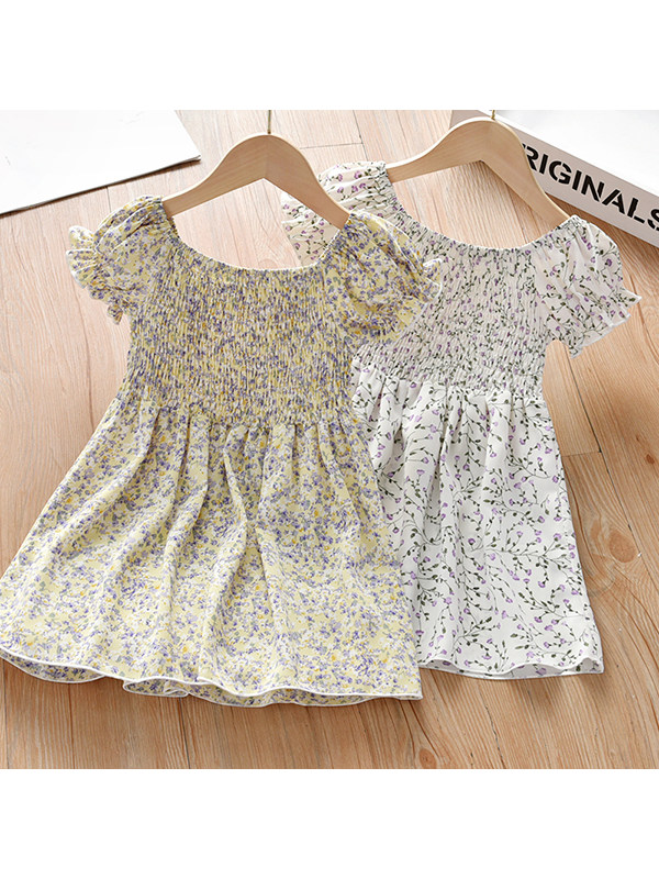 【18M-7Y】Girls Floral Casual Short-sleeved Dress