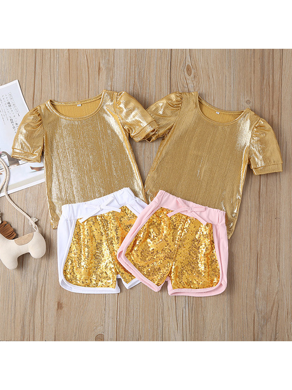 【12M-5Y】Girls Sequined Gold Shorts Suit
