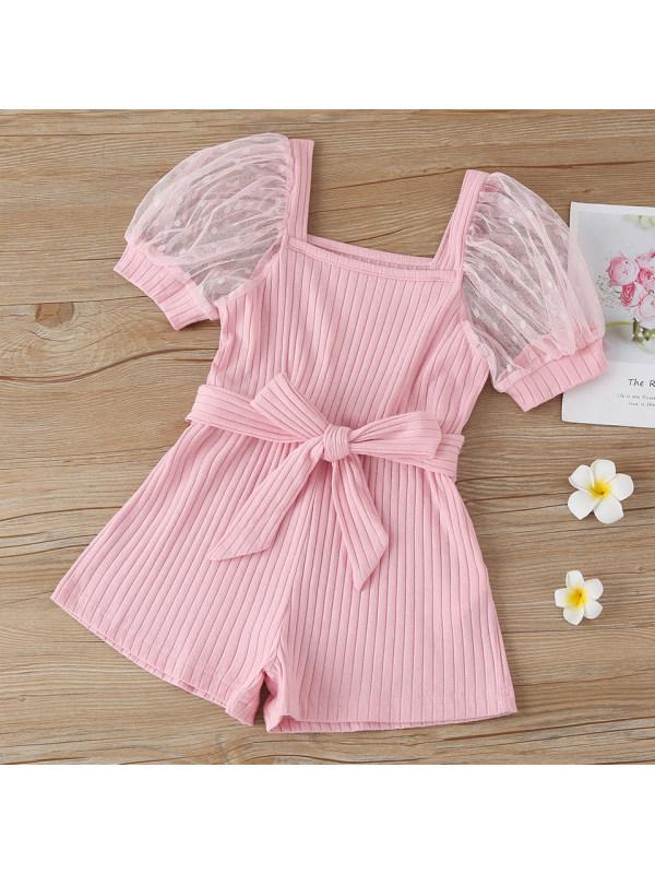 【18M-7Y】Sweet Mesh Puff Sleeve Pink Jumpsuit