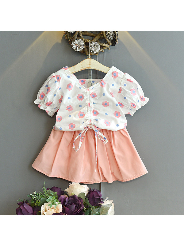 【18M-7Y】Girls Print Drawstring Short-sleeved Top With Short Skirt Two-piece Suit