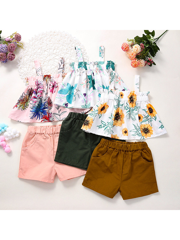 【18M-7Y】Girls Sleeveless Sling Top with Solid Color Shorts Suit