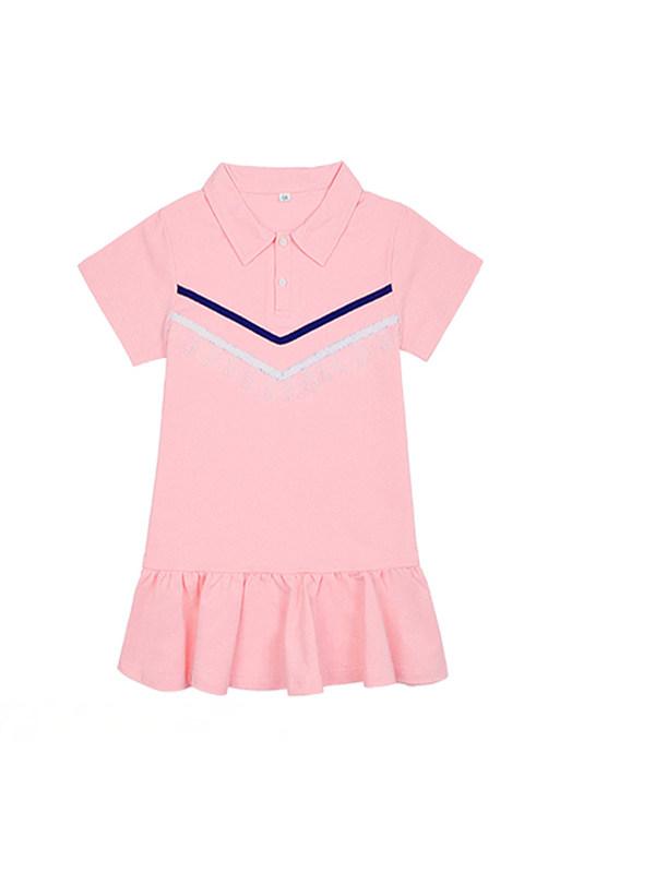 【3Y-13Y】Big Girl Pink Lace Polo Dress