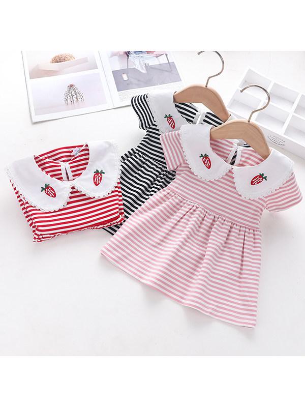 【12M-5Y】Girls Striped Doll Collar Dress