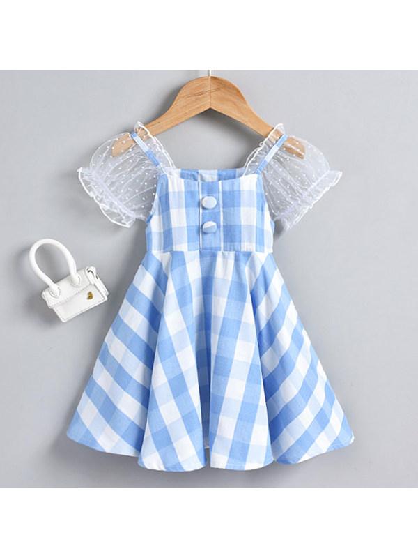 【18M-7Y】Sweet Mesh Puff Sleeve Plaid Dress
