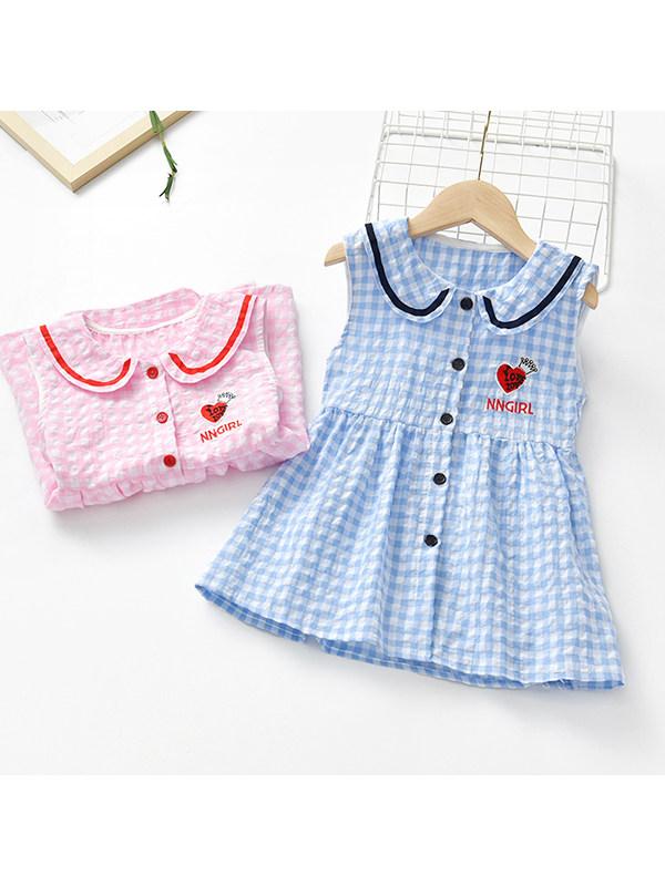 【18M-7Y】Girls Doll Collar Plaid Vest Dress