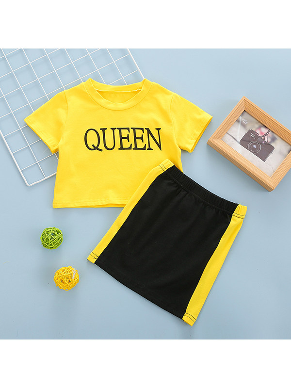 【18M-7Y】Girls' Round Neck Short-sleeved Letter Print Top With Contrast Skirt Suit
