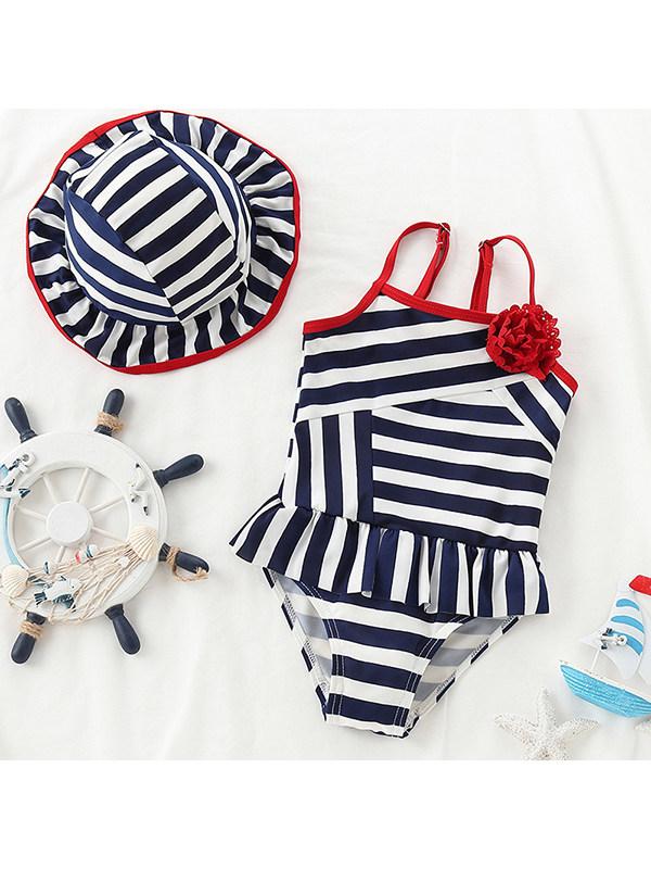 【12M-3Y】Girls Striped One-piece Swimsuit