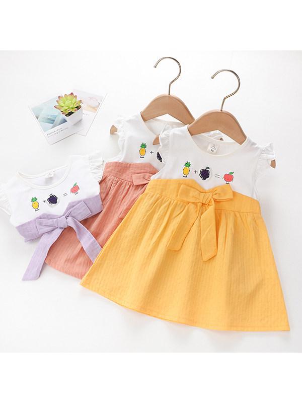 【18M-7Y】Girls Stitching Cute Flying Sleeve Dress