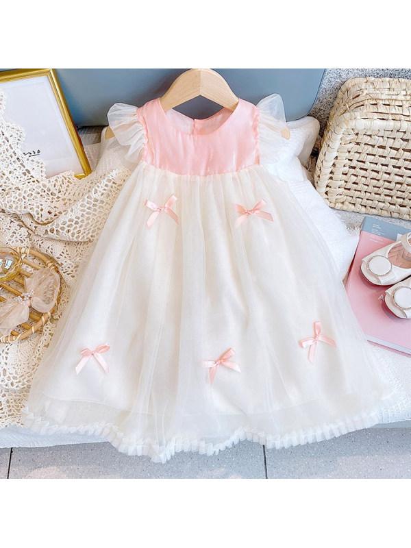 【18M-7Y】Sweet Pink Bow Mesh Dress