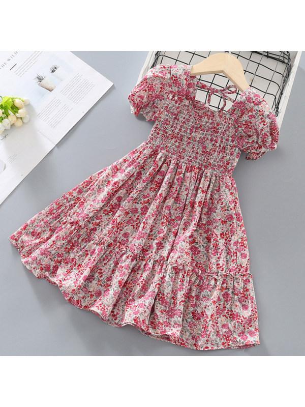 【18M-7Y】Girl Sweet Pink Floral Short Sleeve Dress
