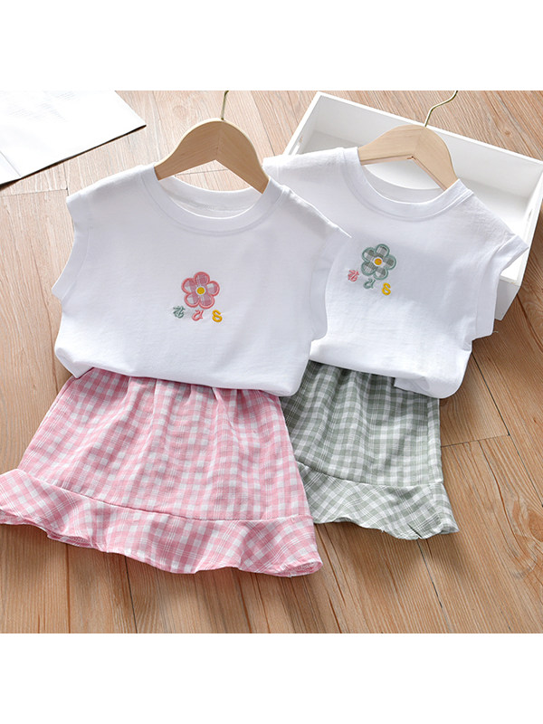【18M-7Y】Girls Sleeveless Vest Top Plaid Skirt Two-piece Suit
