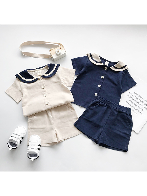 【18M-7Y】Girls Navy Style Cotton And Linen Short-sleeved Shorts Suit