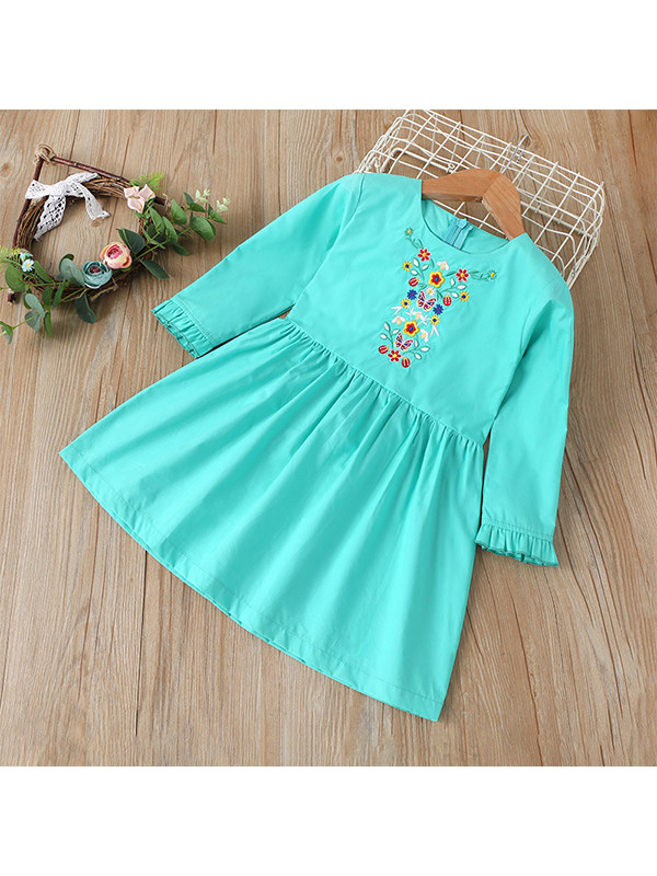 【18M-7Y】Girls' Embroidered Casual Dress