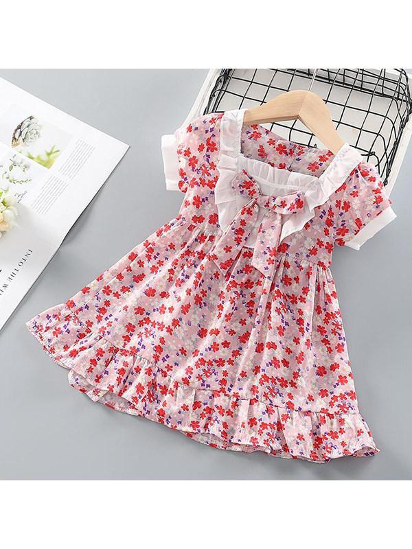 【18M-7Y】Girls Bowknot Sweet Floral Dress