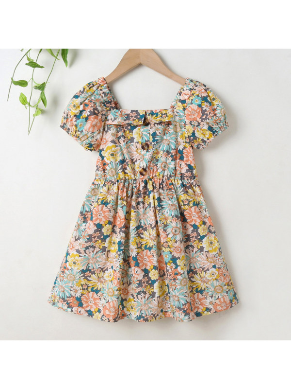 【18M-7Y】Sweet Flower Print Square Neck Puff Sleeve Dress