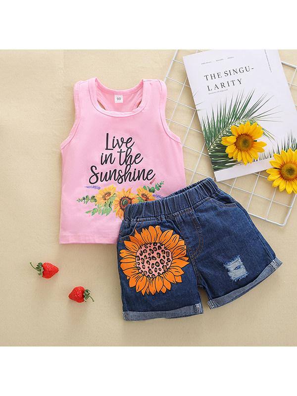 【18M-5Y】Girls Pink Print Vest Denim Shorts Suit