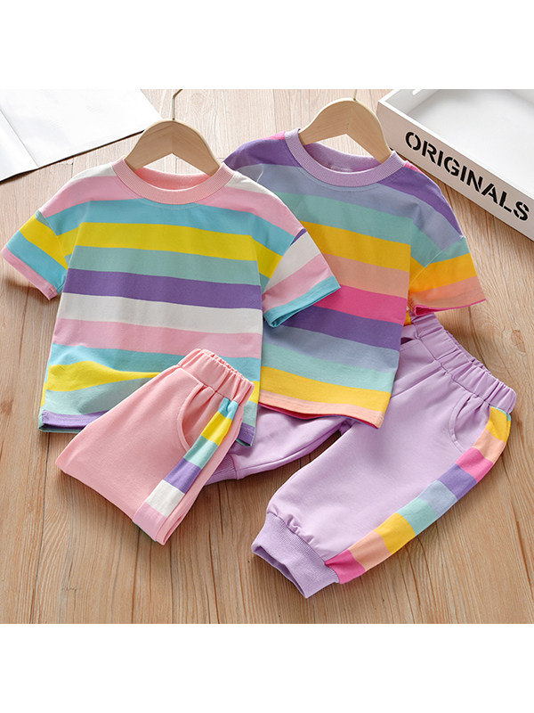 【18M-7Y】Girls Striped Short-sleeved Color Stitching Two-piece Suit