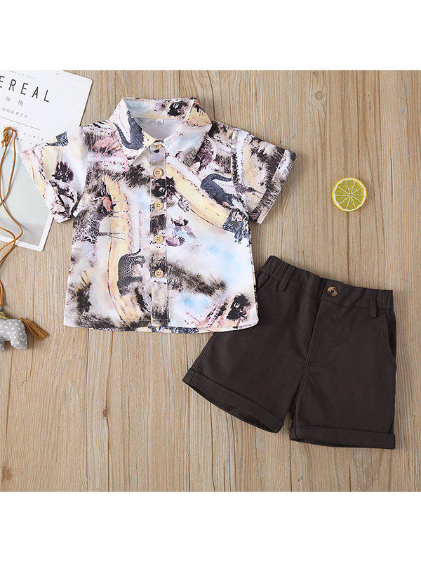 【12M-5Y】Boys Cartoon Print Shirt with Solid Color Shorts Two-piece Suit